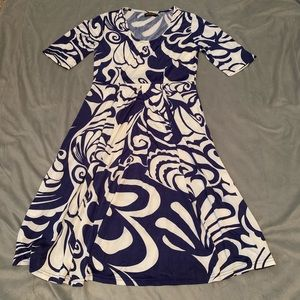 Reborn Navy White Abstract Print Dress EUC Size L